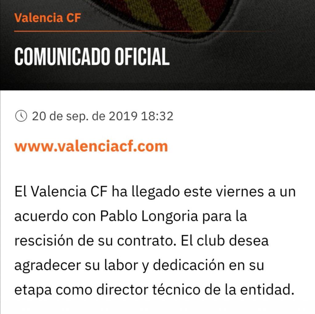 OFICIAL | El VCF rescinde el contrato de Pablo Longoria 1