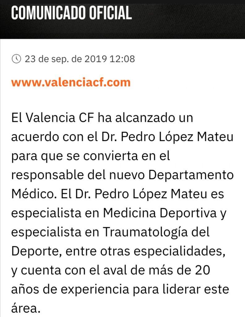 OFICIAL | El Dr. Pedro López Mateu será el nuevo responsable del departamento médico 2