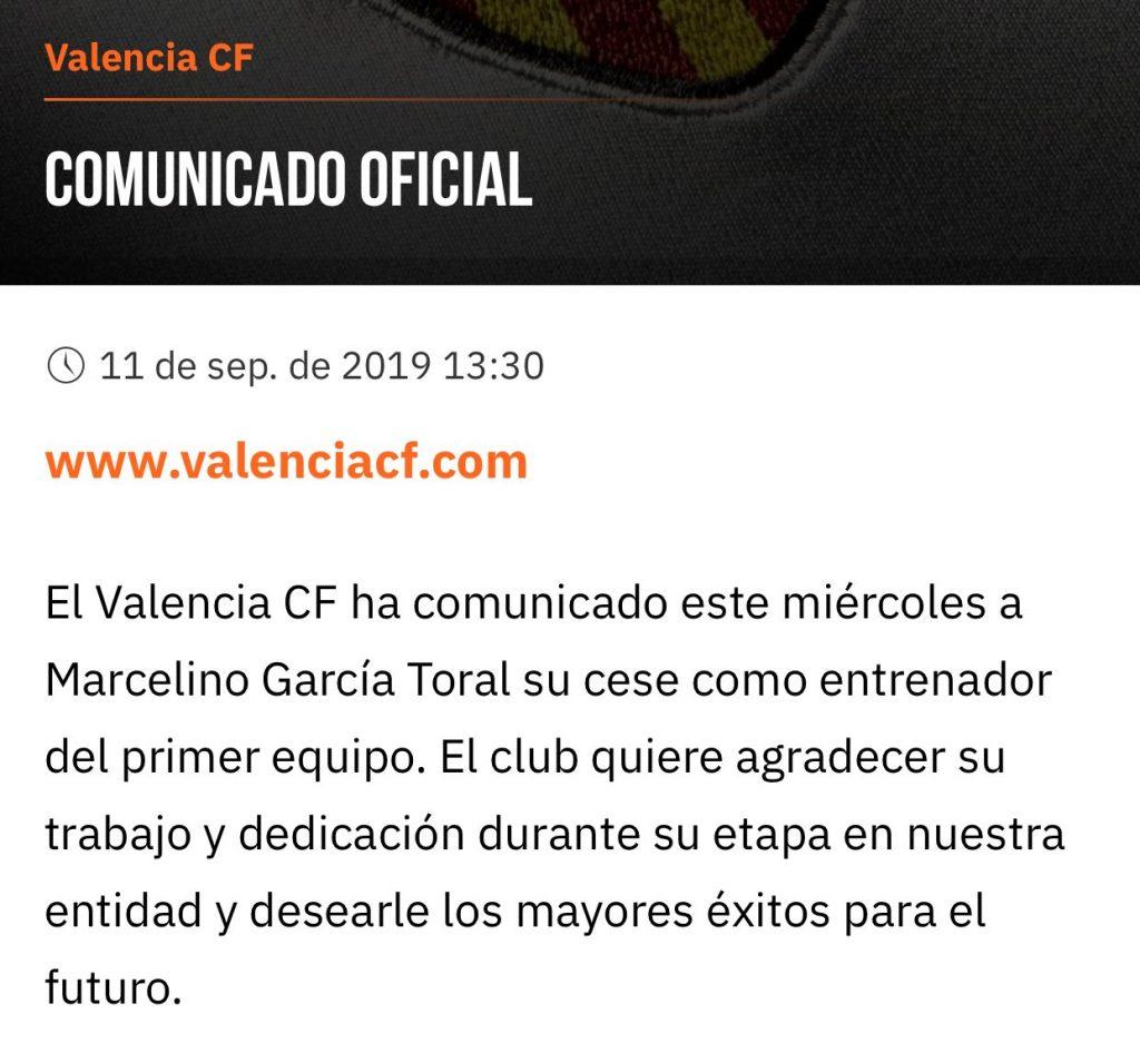 OFICIAL | Marcelino despedido del Valencia CF y el sustituto será Celades 4