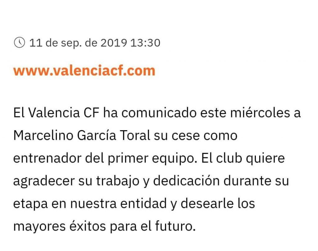 OFICIAL | Marcelino despedido del Valencia CF y el sustituto será Celades 1