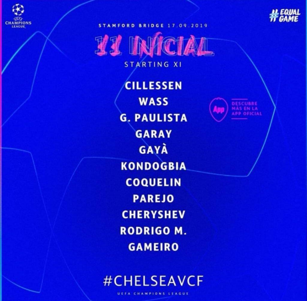 El once de Celades para el Chelsea vs Valencia CF de UCL 1