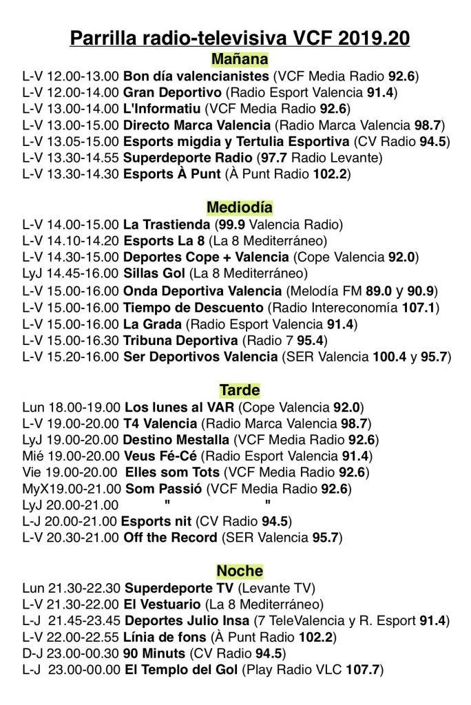Parrilla radio-televisiva sobre la actualidad valencianista 2019/20 1