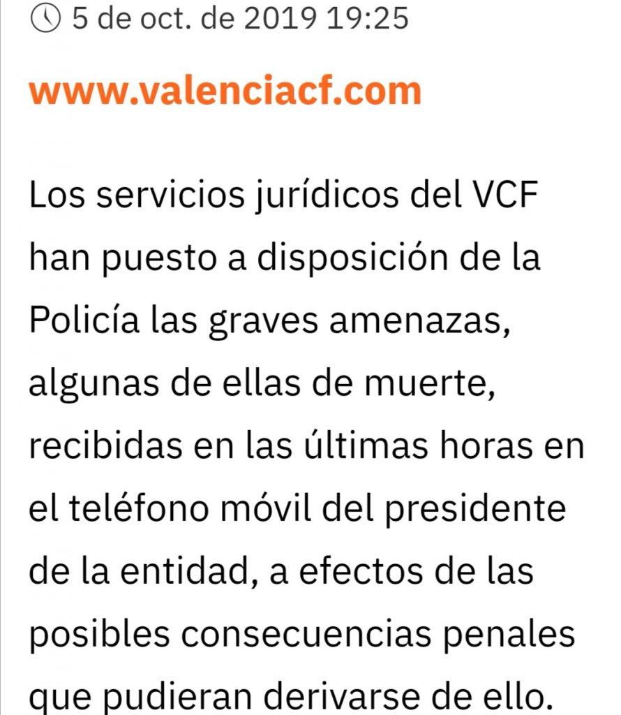El VCF ha sacado un comunicado oficial sobre las amenazas al presidente 1