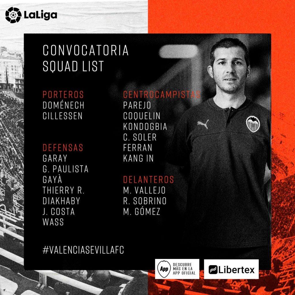 Convocatoria de Celades para el VCF-Sevilla 1