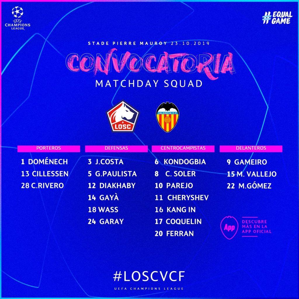 Convocatoria de Celades para el Lille vs VCF de UCL 1