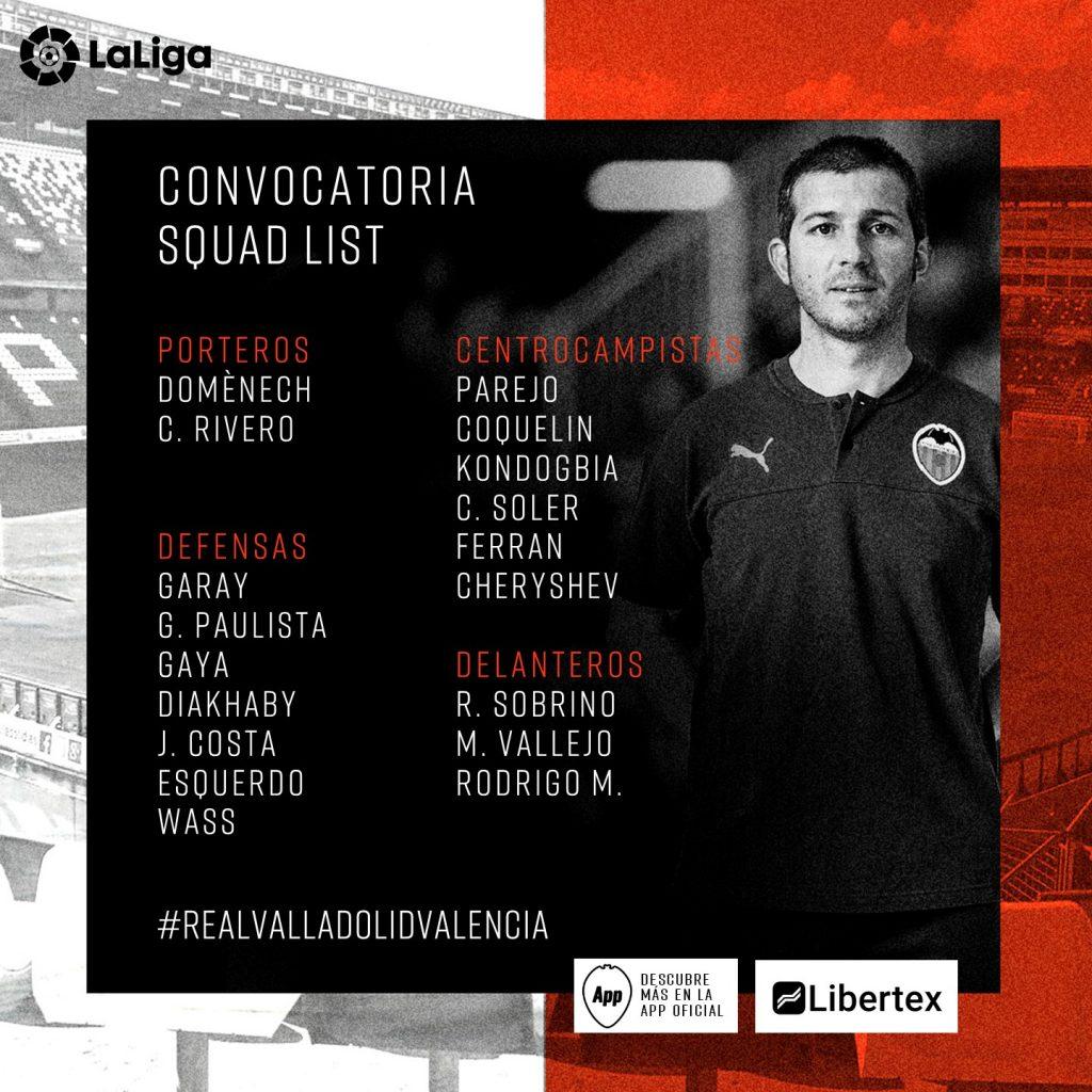 Convocatoria de Celades para el partido Valladolid vs VCF de mañana 1