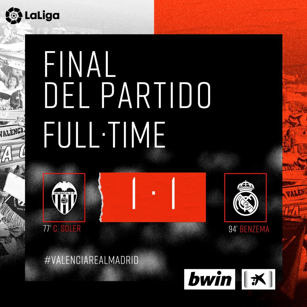 VÍDEO | Resumen del Valencia CF 1-1 Real Madrid 1