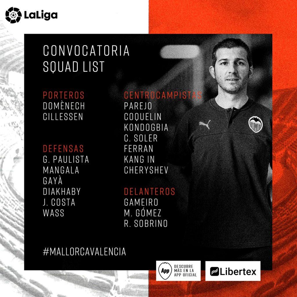 Convocatoria de Celades para el Mallorca vs VCF 1