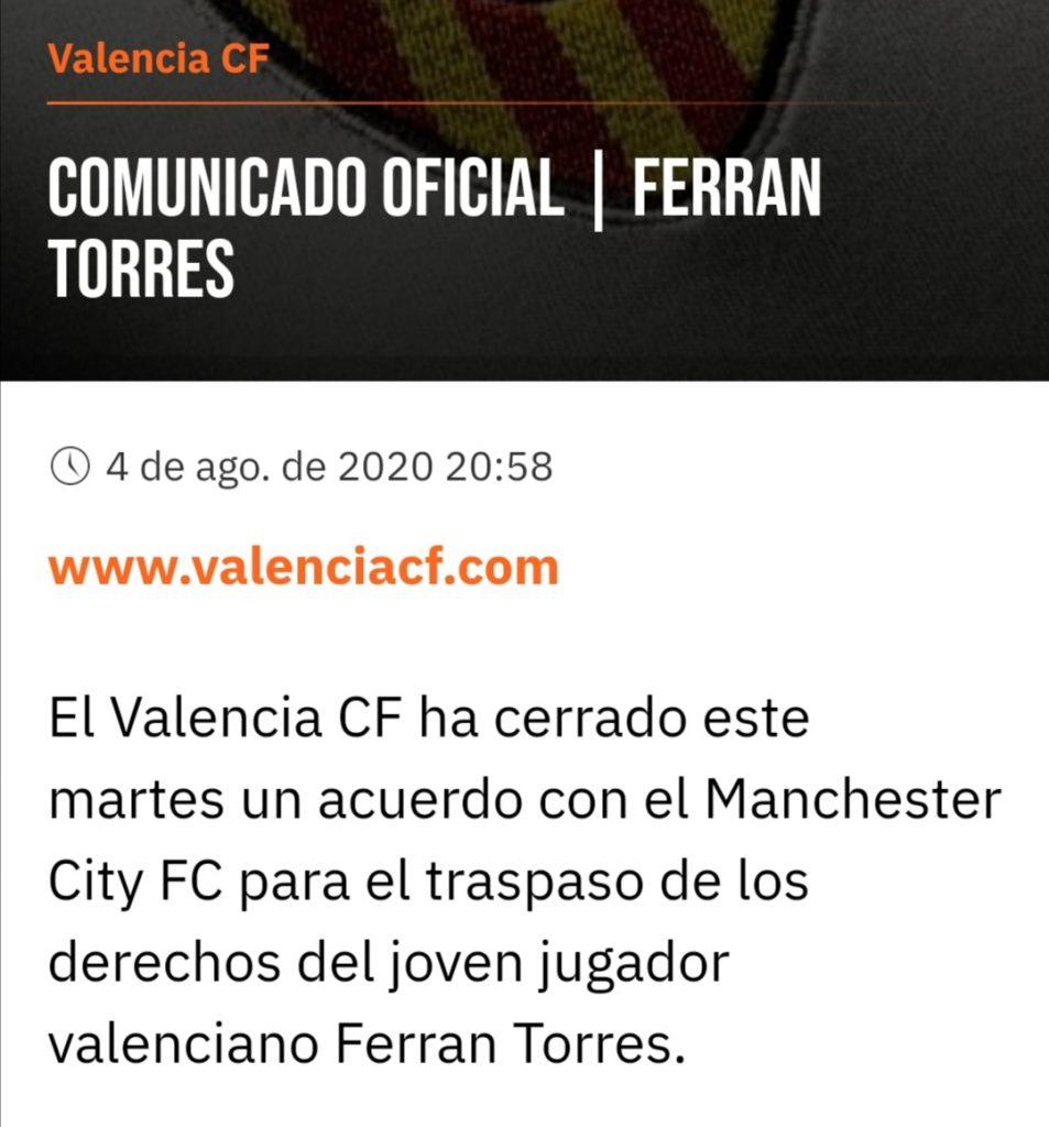 OFICIAL | Ferran Torres deja el VCF y se marcha al Manchester City (Incluye Vídeo Despedida) 2