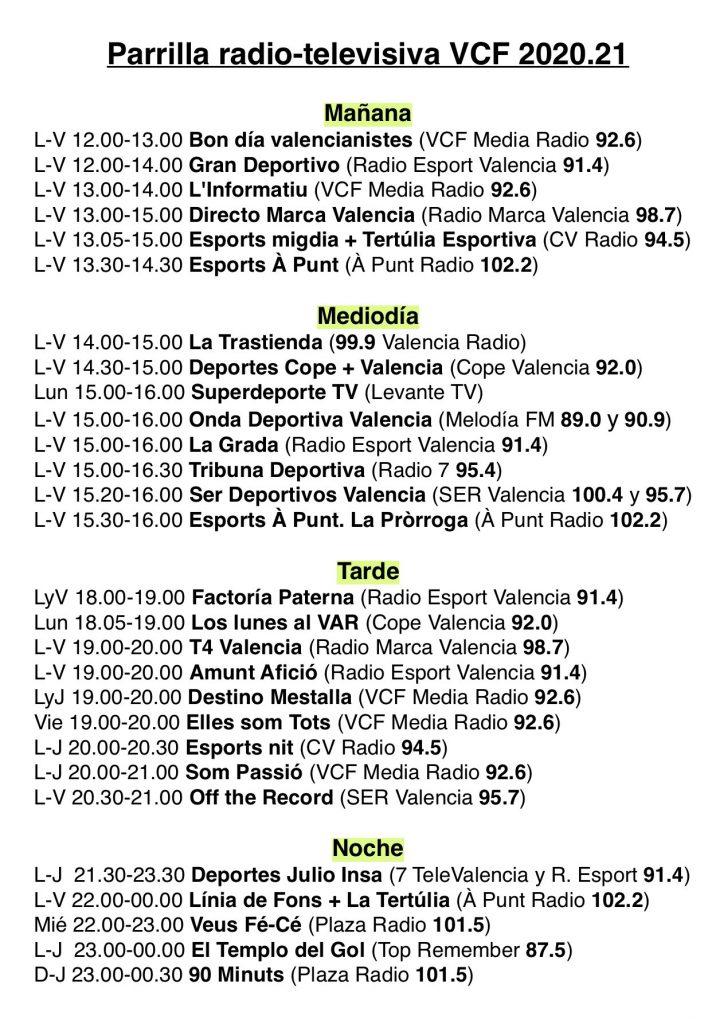 Parrilla radio-televisiva sobre la actualidad valencianista 2020/21 1
