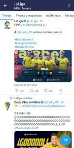 tweet en la cuenta de la liga sobre el Cadiz - Valencia
